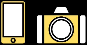 スマホとカメラのアイコン